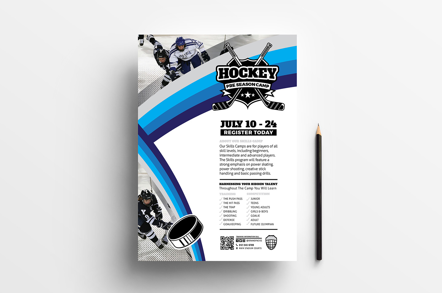 A4 Hockey Club Poster Templates example image 2