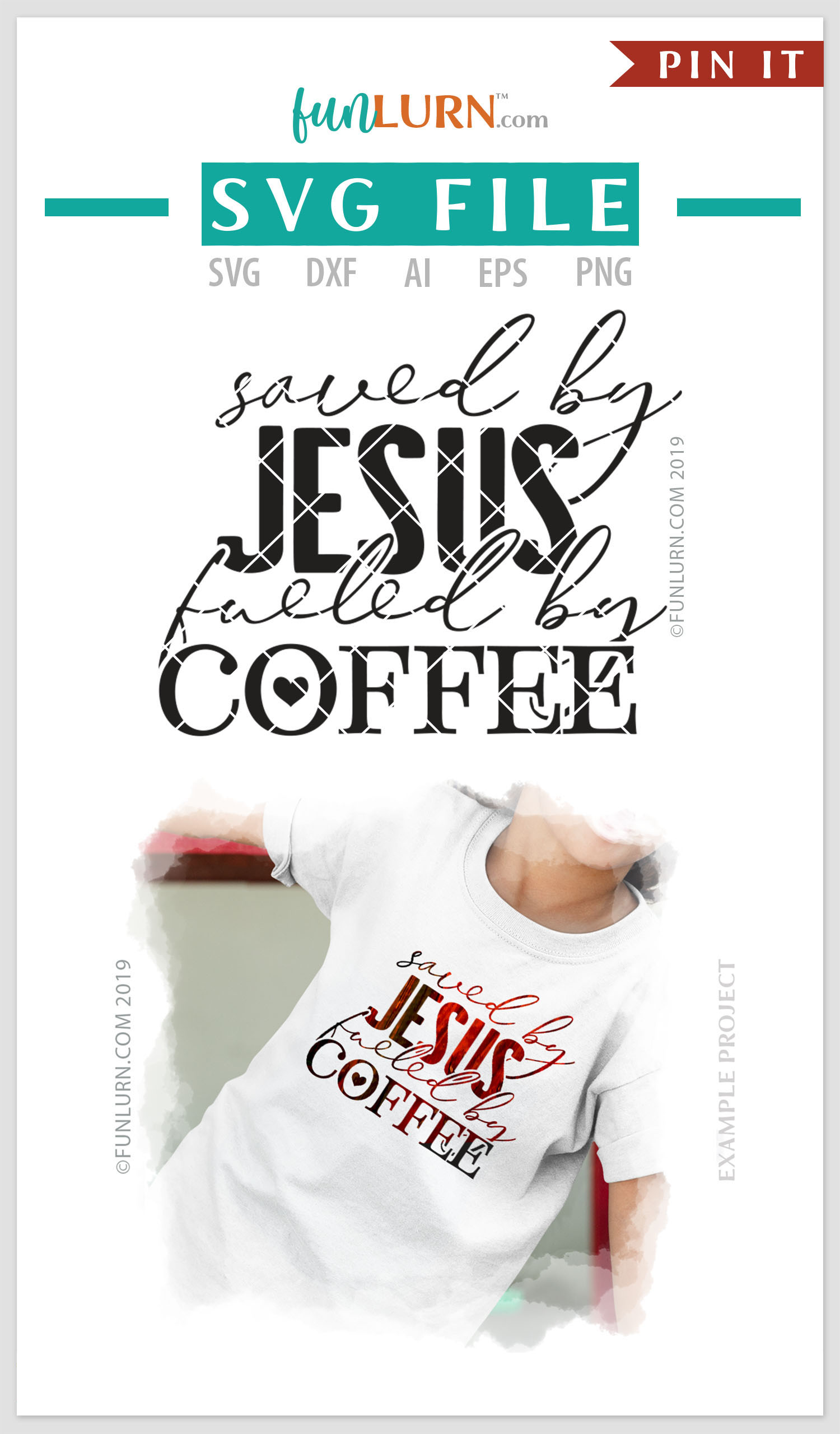 Saved By Jesus Fueled By Coffee SVG Cut File example image 4