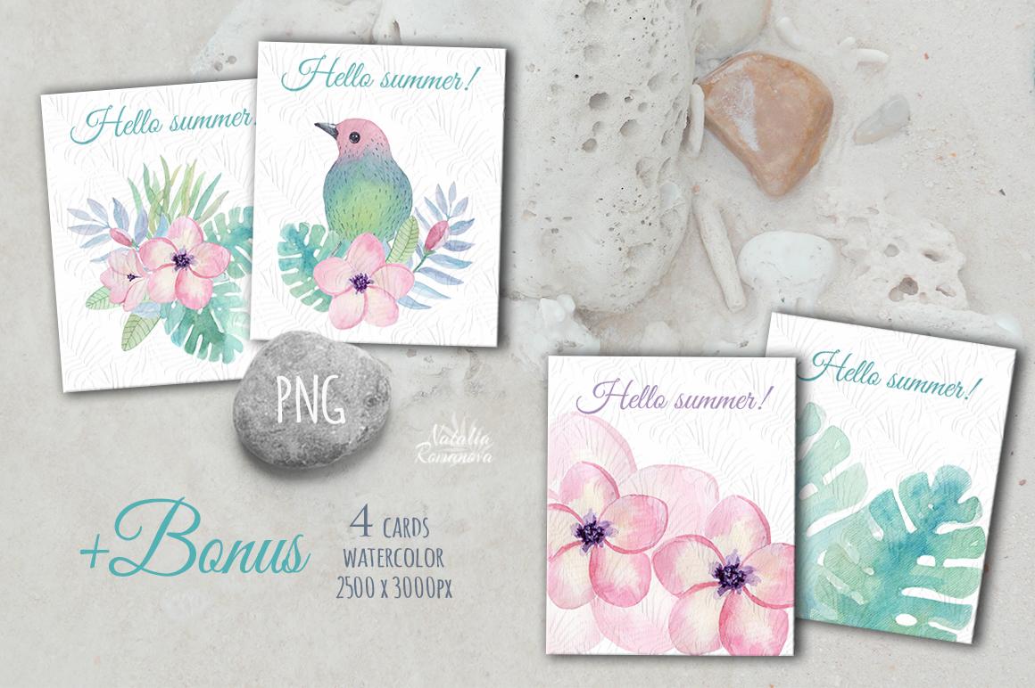 Tropical watercolor patterns + BONUS example image 3