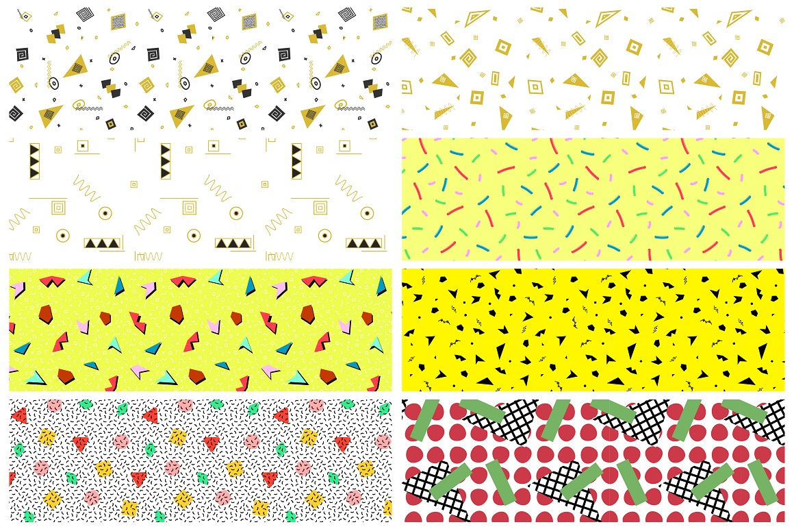 Swatches of retro memphis patterns. example image 1