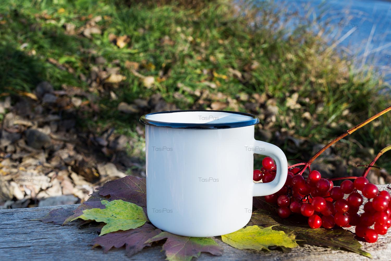 White campfire mug mockup with viburnum example image 5