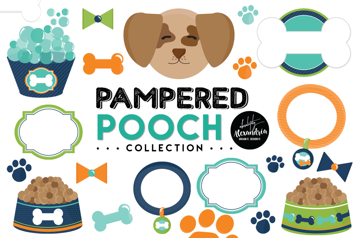 Pampered Pooch Clipart Graphics & Digital Paper Patterns Bundle example image 1