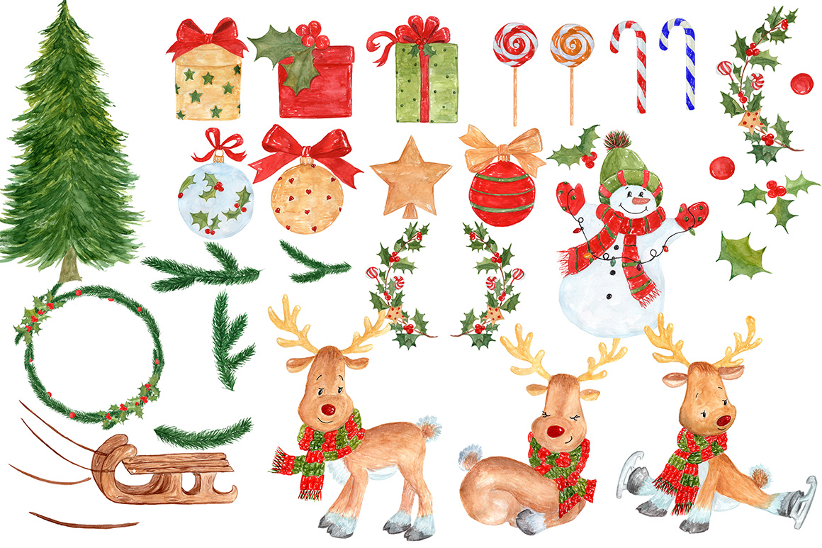 Bundle Watercolor Christmas Kids Clipart example image 13