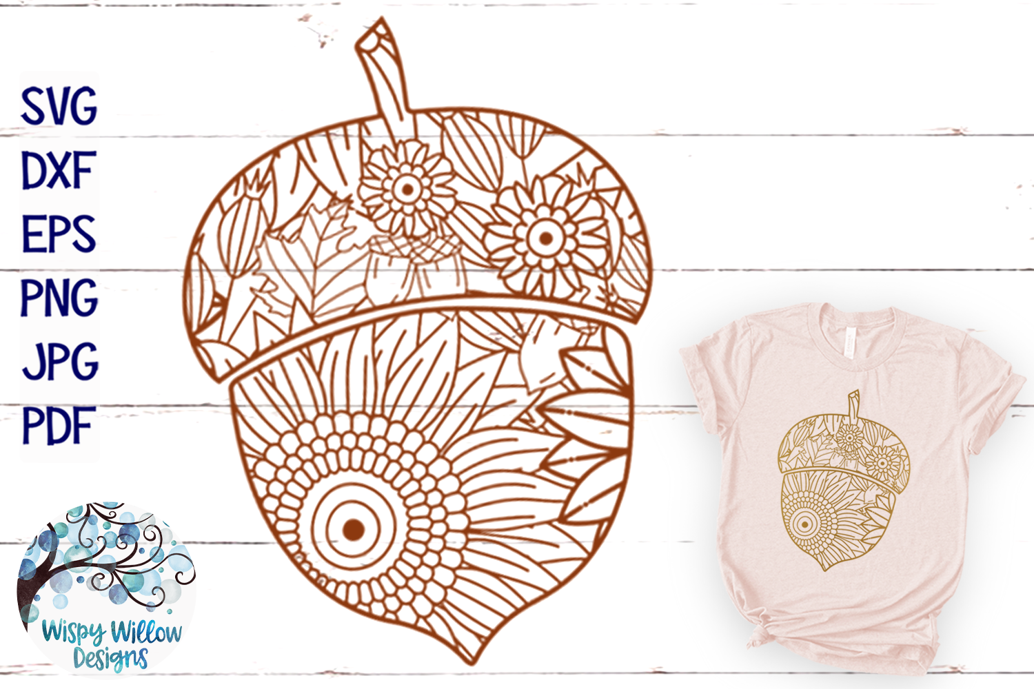 Acorn Zentangle SVG | Thanksgiving SVG | Fall SVG Cut File example image 1
