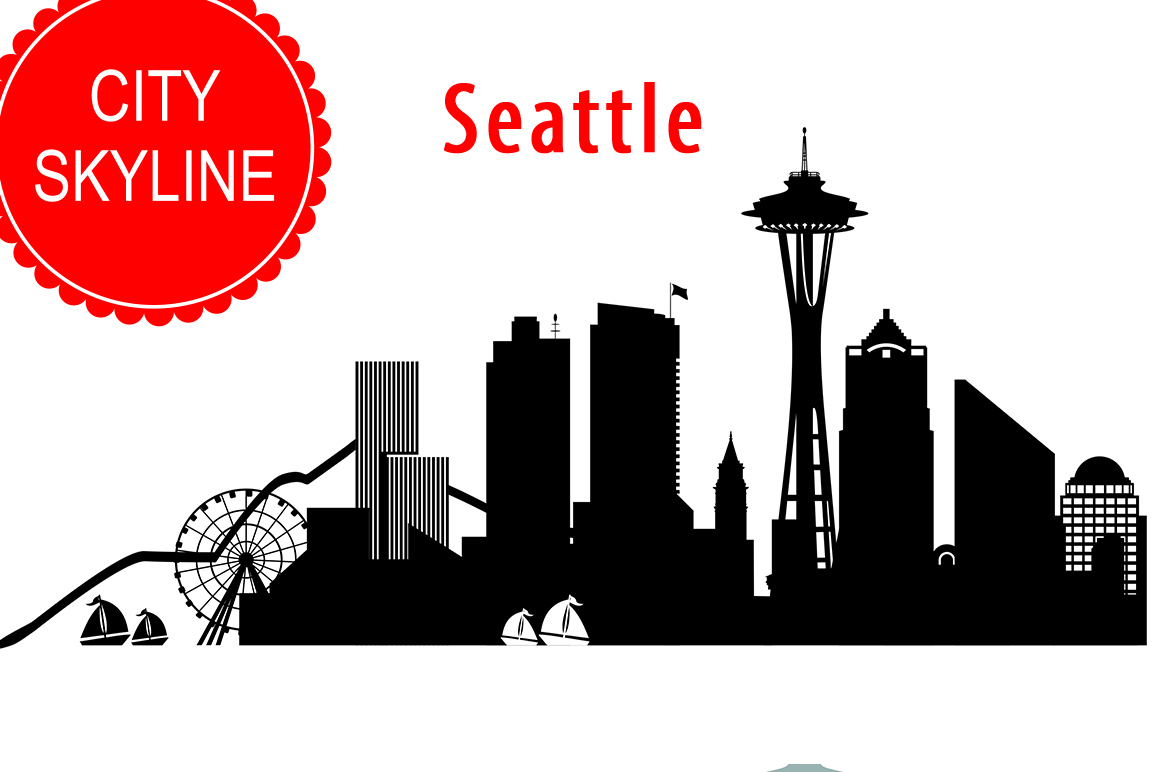 Seattle Vector, Washington Skyline USA city, SVG, JPG, PNG, DWG, CDR, EPS, AI example image 1