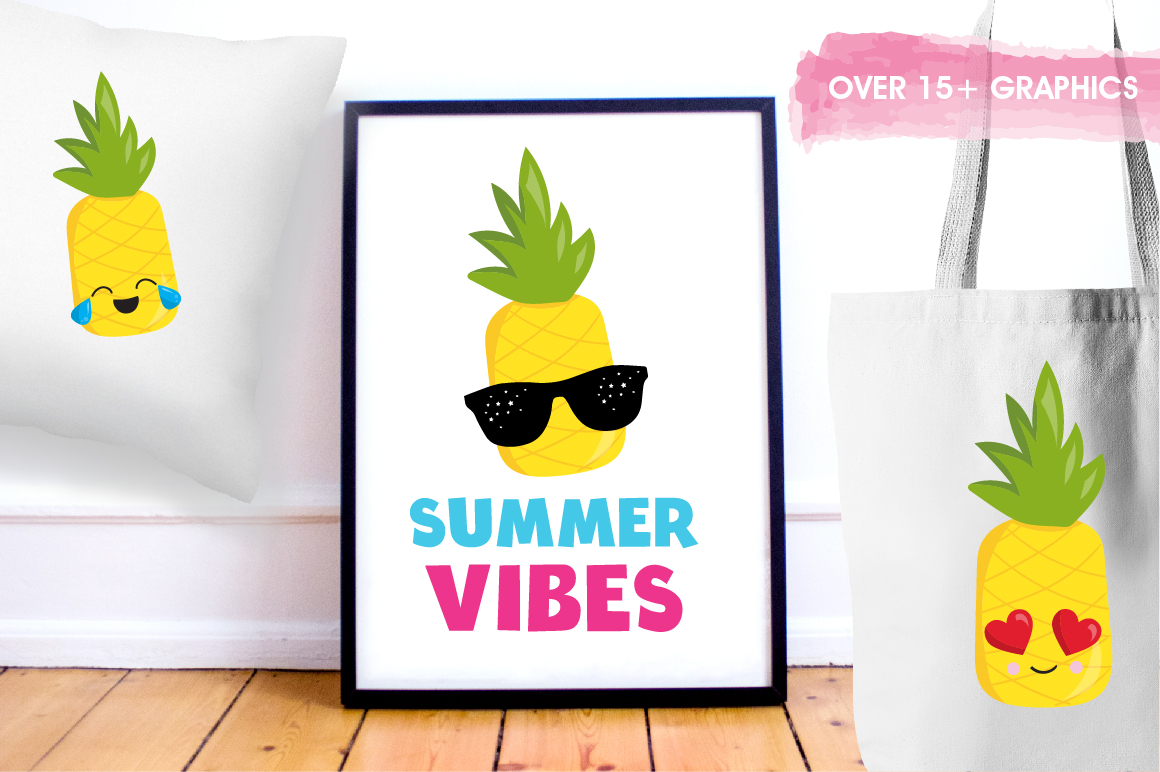 Summer Pineapples graphics and illustrations example image 5