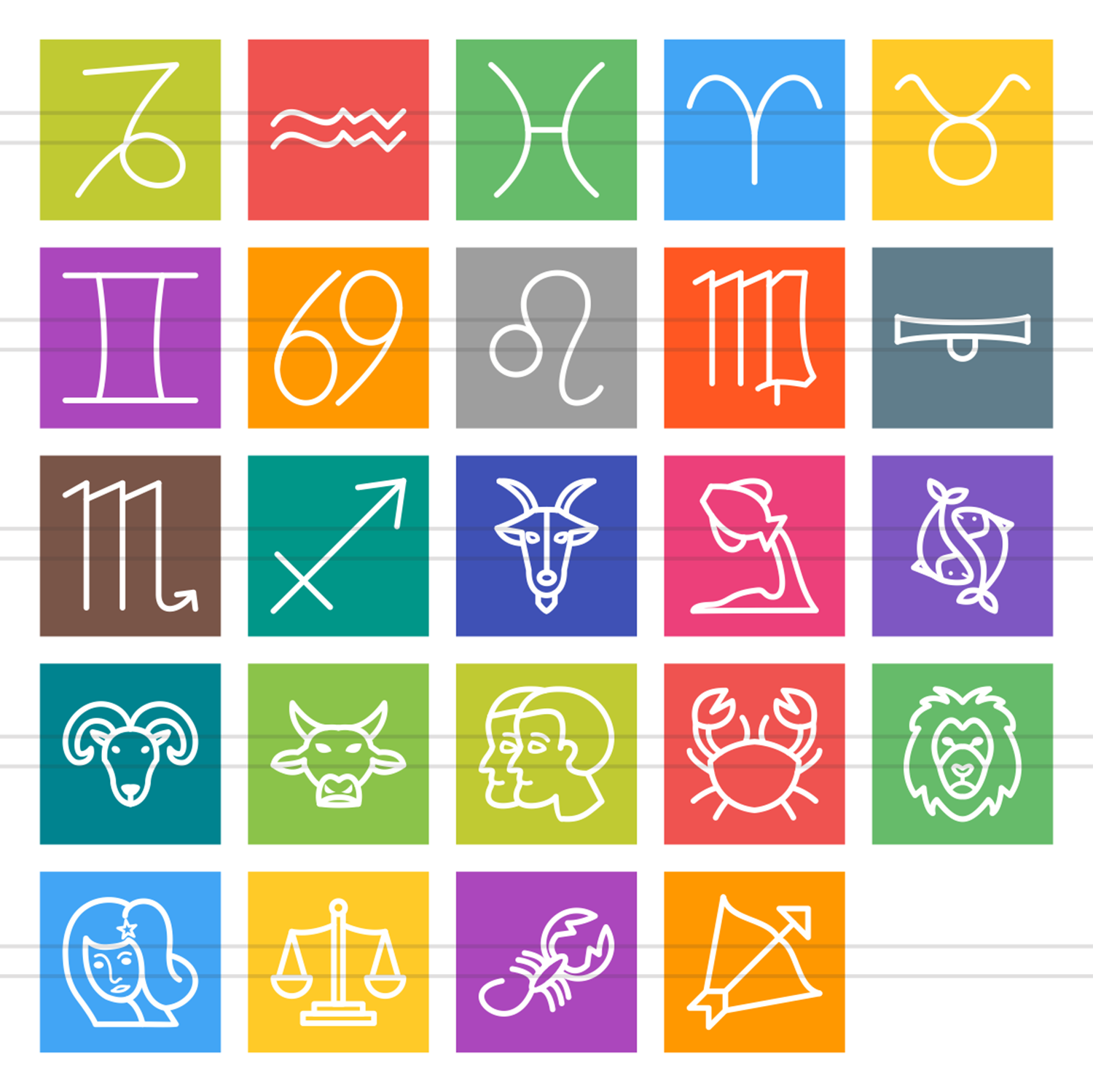 24 Zodiac Line Multicolor B/G Icons example image 2