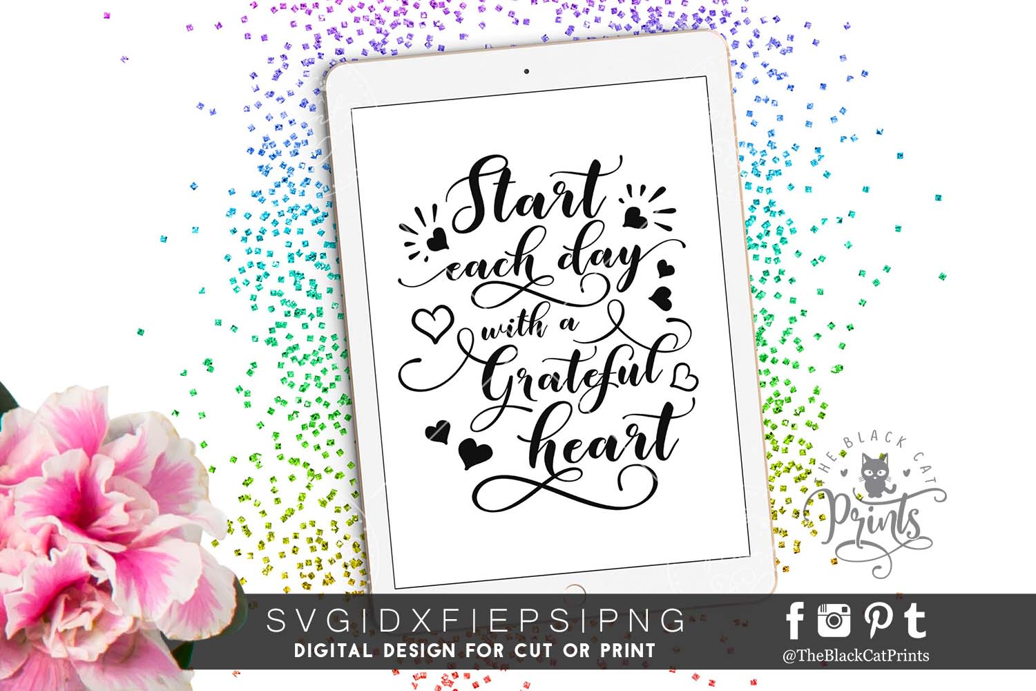 Start each day with a grateful heart SVG PNG EPS DXF example image 1