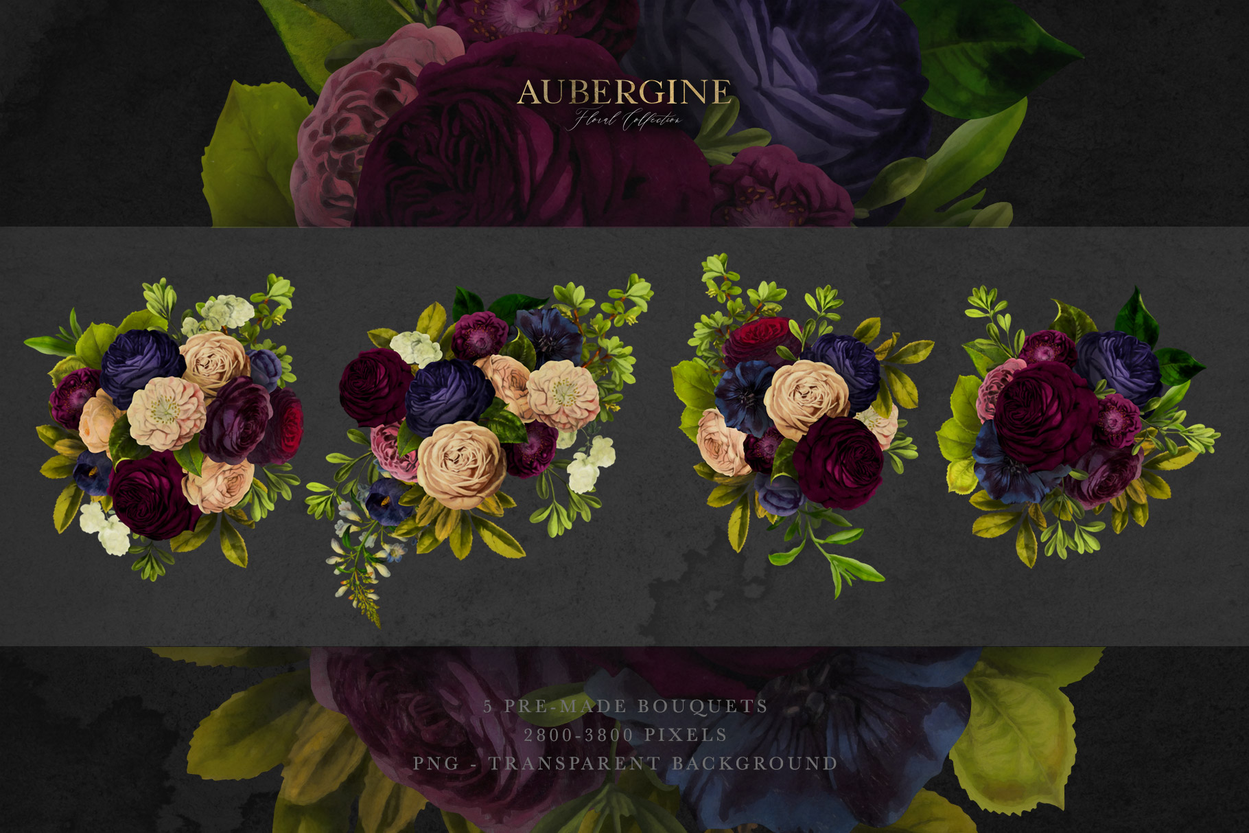 Aubergine Floral Clip Art Graphics Collection example image 2