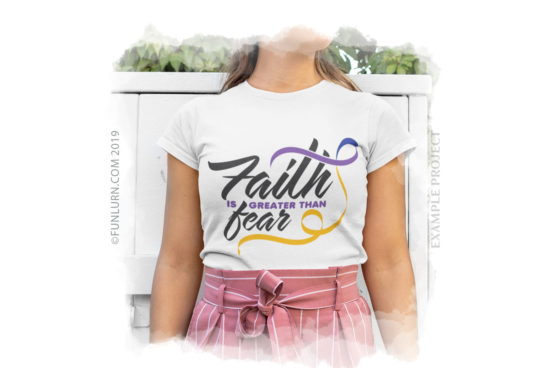 Faith is Greater Than Fear Purple Blue Yellow Ribbon SVG example image 3