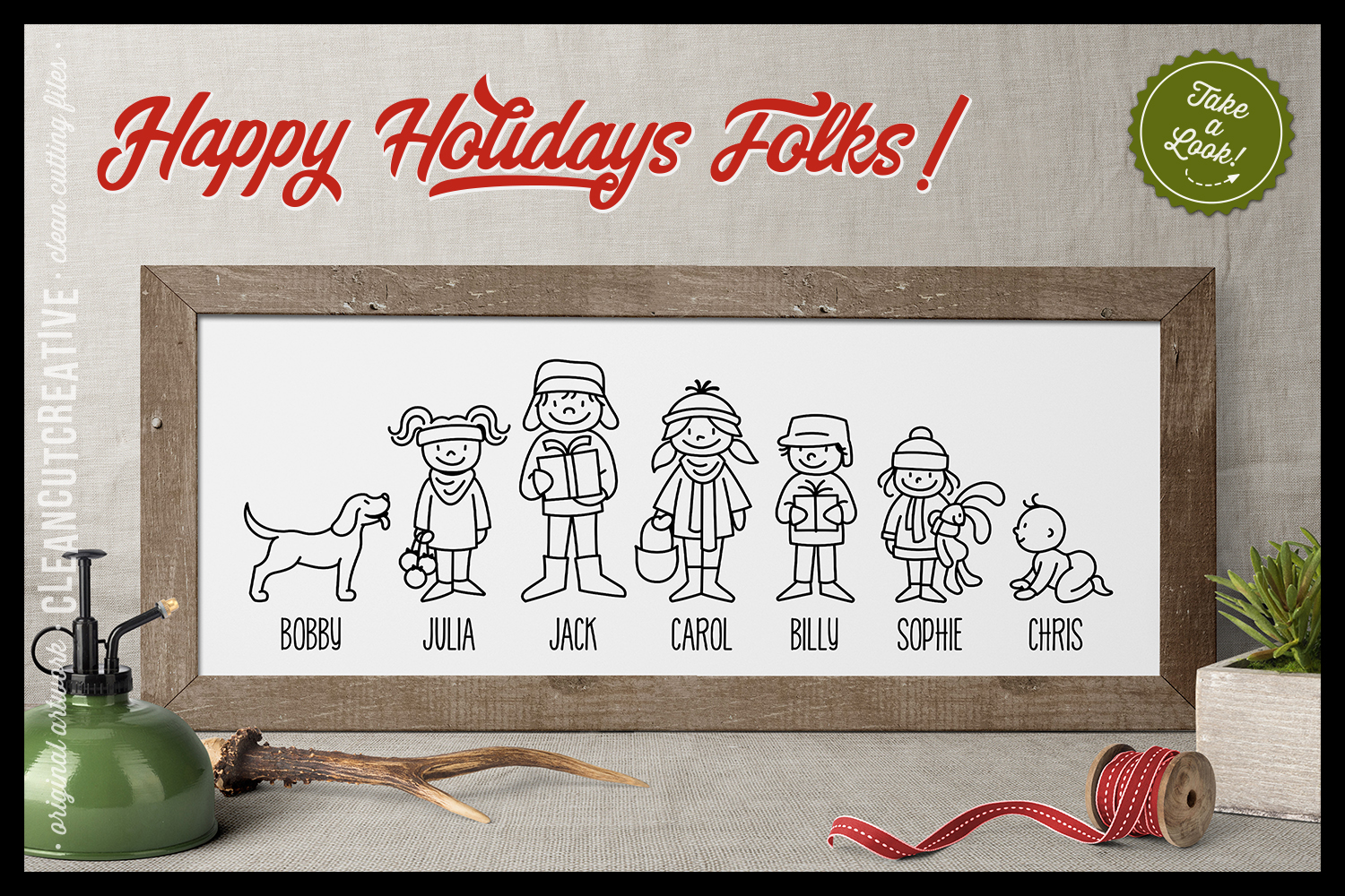 Cute Christmas Clan - Family Characters svg cutfiles vector example image 2