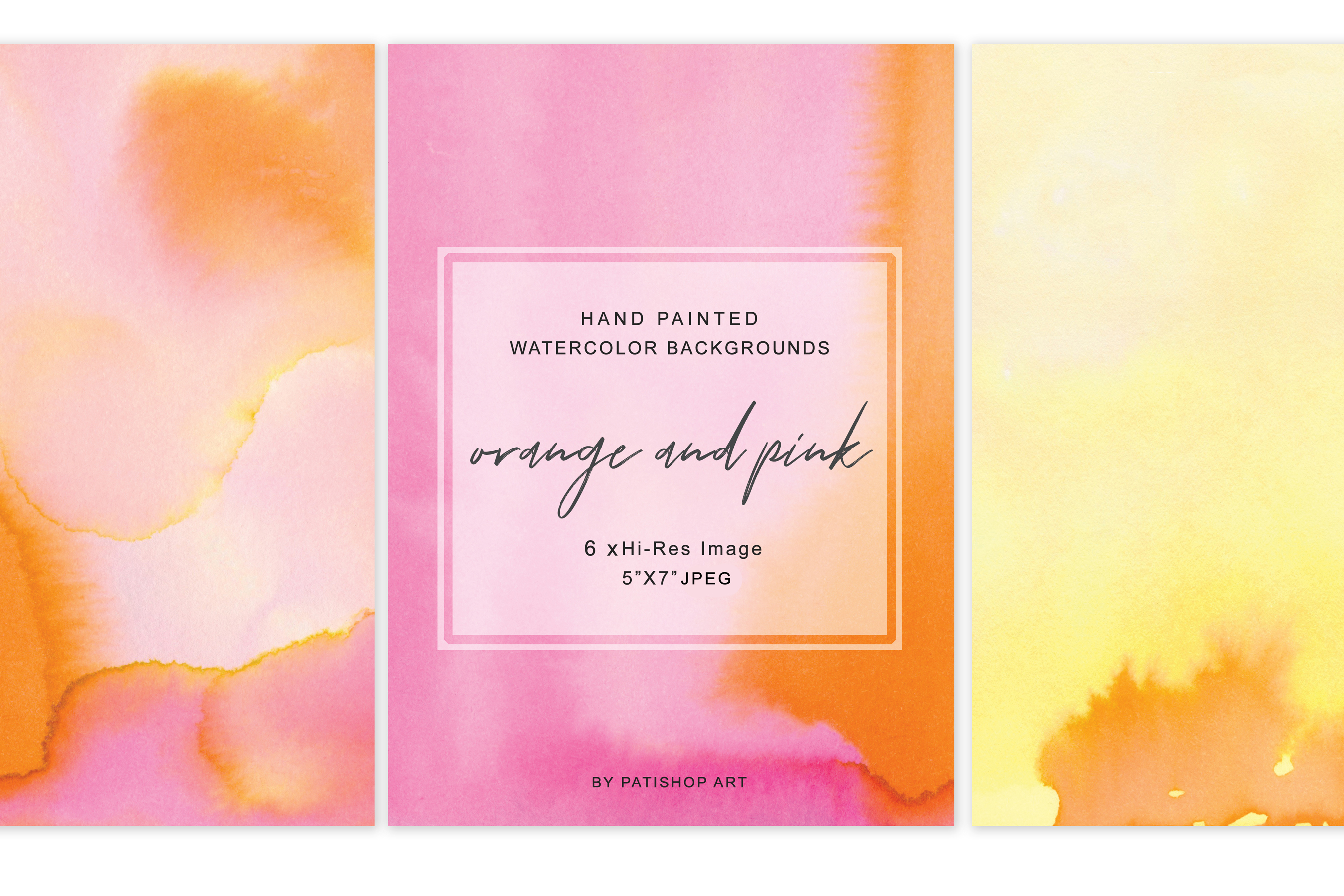 Hand Painted Watercolor Background Orange & Pink 5x7 example image 4