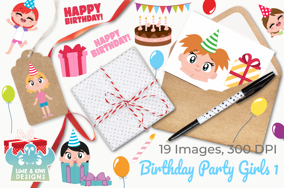 Birthday Party Girls 1 Clipart, Instant Download Vector Art example image 4
