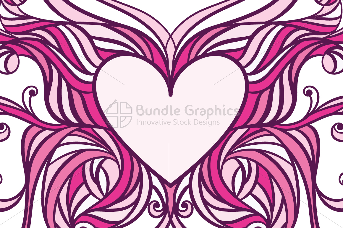 Butterfly Heart Ornamental Design  example image 2