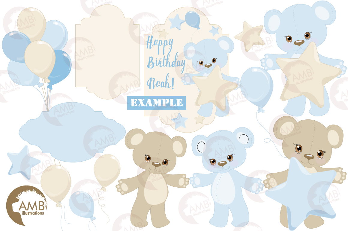 Teddy bear, nursery, baby boy, baby blue bear, clipart, graphics, llustrations AMB-1460 example image 3
