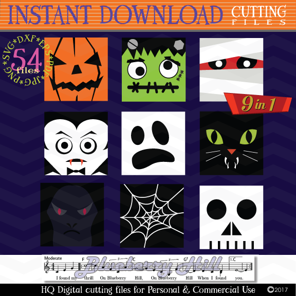 Halloween Monster Face svg - Halloween bundle Monster icons example image 2