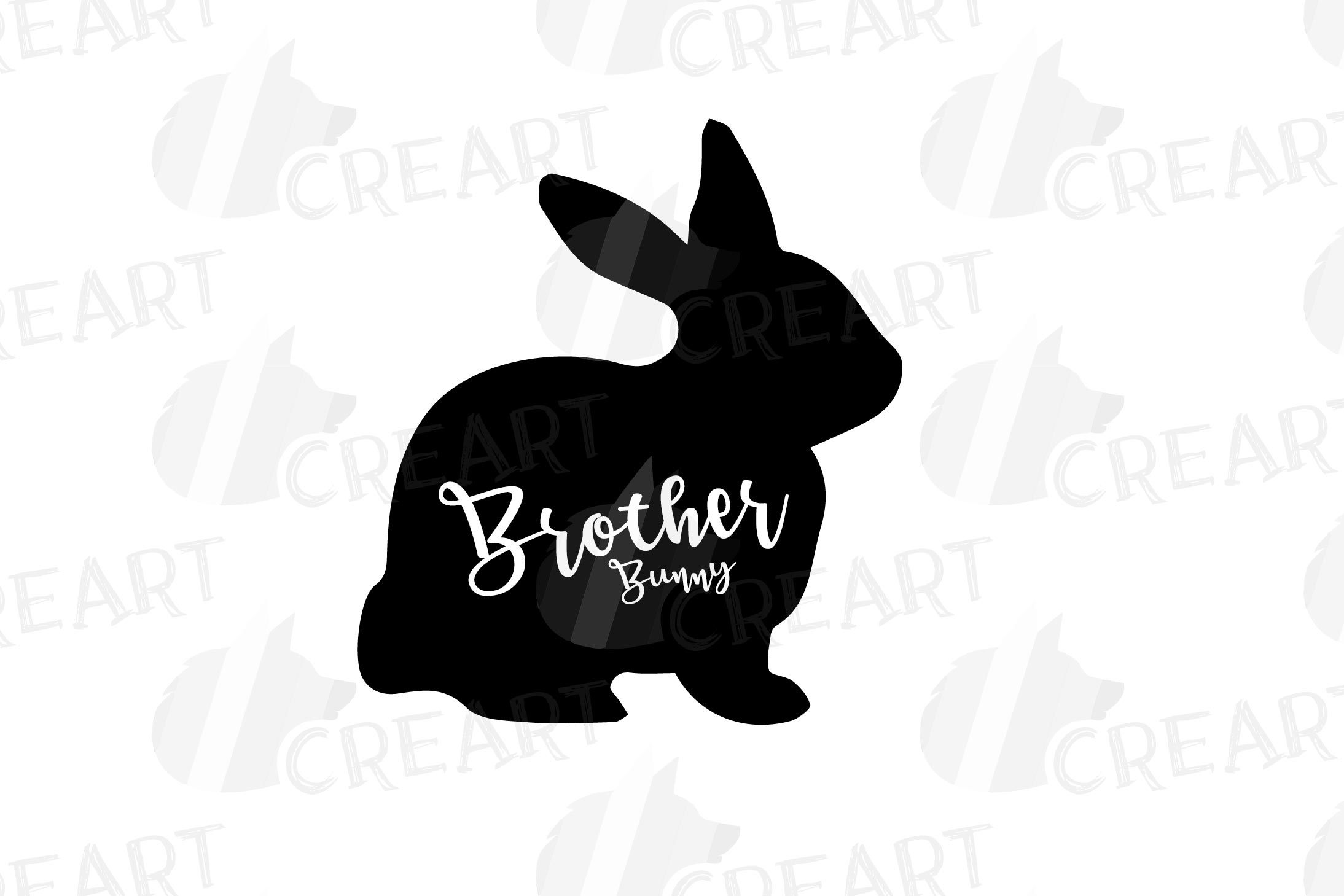 Rabbit family silhouettes, bunny silhouette svg cutting file example image 12