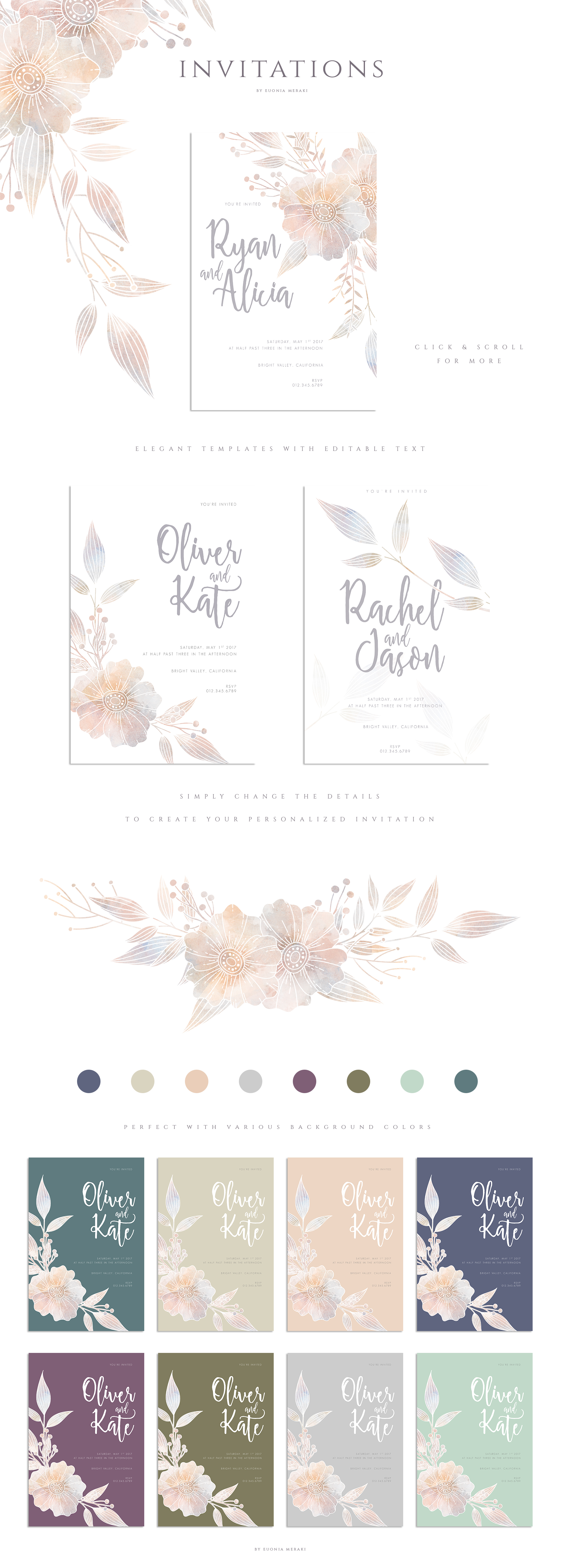 MISTY Dusty Floral Graphics and Monograms example image 8