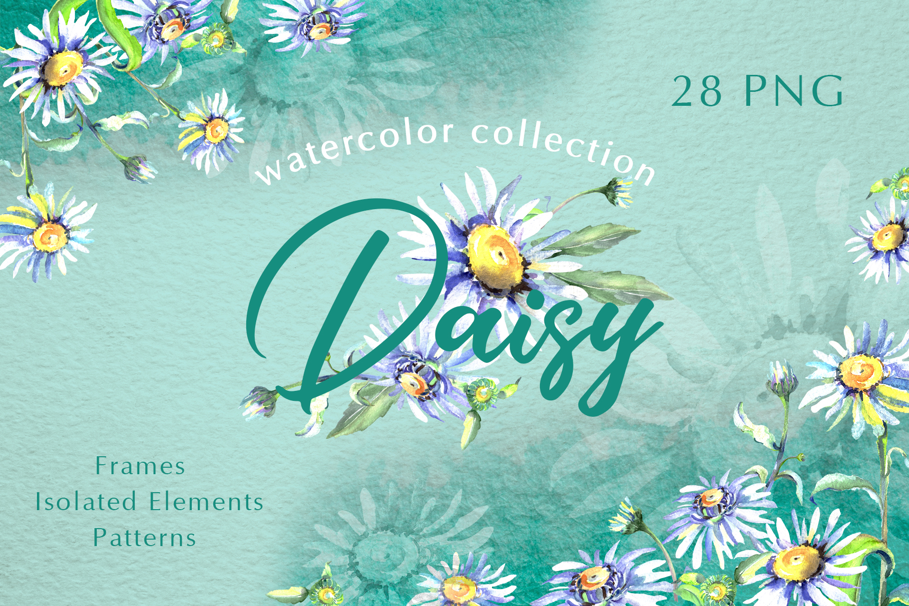 Daisy flower green watercolor png example image 1
