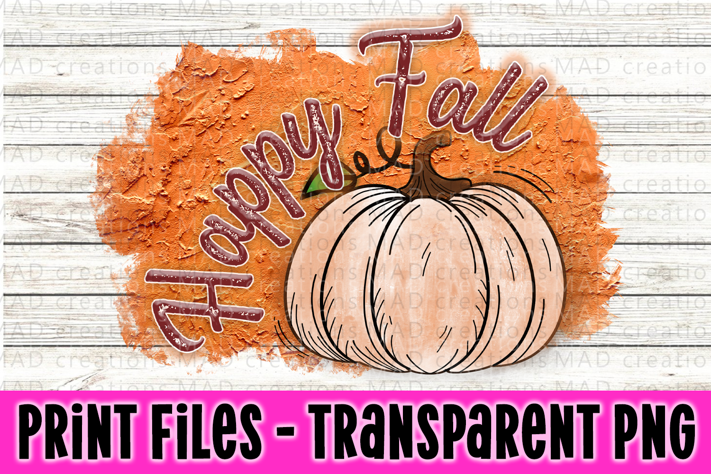 Happy Fall - Orange Plaster - Pumpkin - Print File example image 1