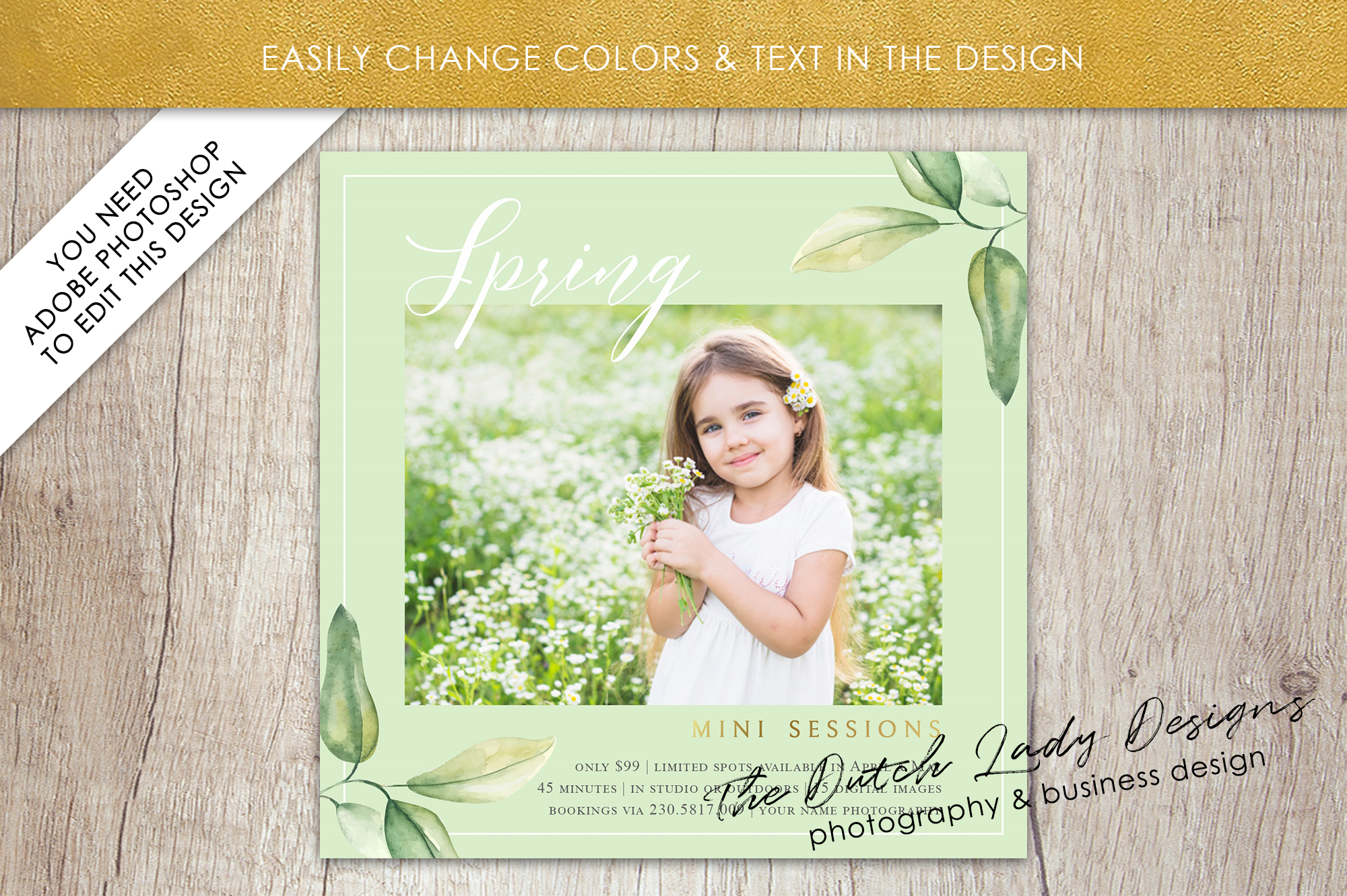 PSD Spring Photo Session Card Template - Design #35 example image 3