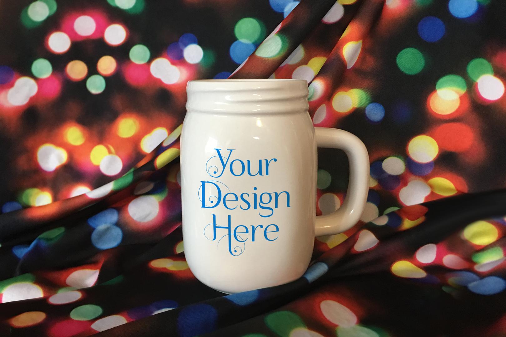 Mason Jar Mug Christmas Mockup, PSD Smart Object & JPG example image 3