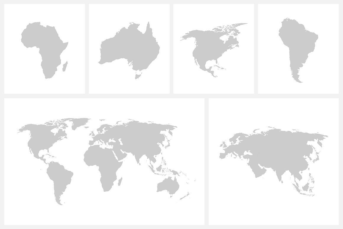 Vector world map + continents example image 1