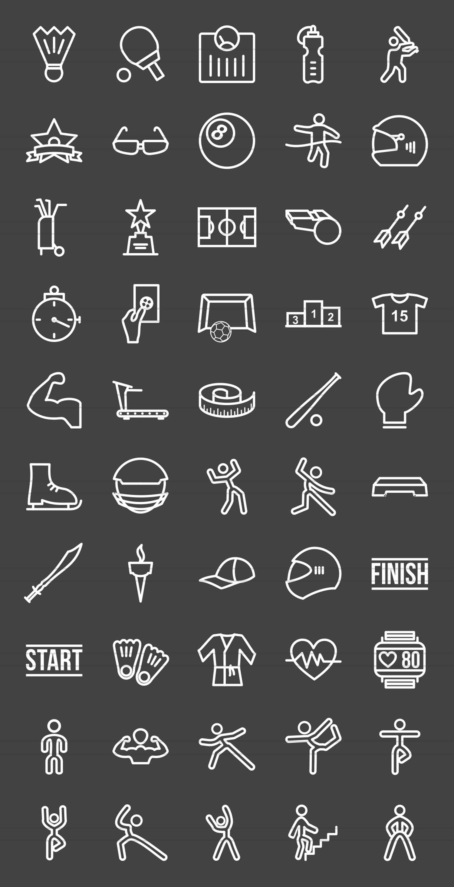 50 Fitness & Sports Line Inverted Icons example image 2