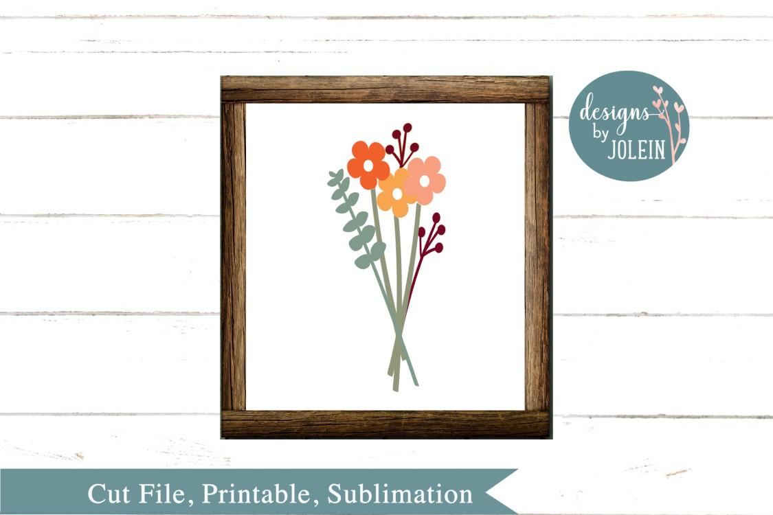 Autumn Floral Bouquet SVG, png, eps, sublimation, dxf, jpeg example image 1