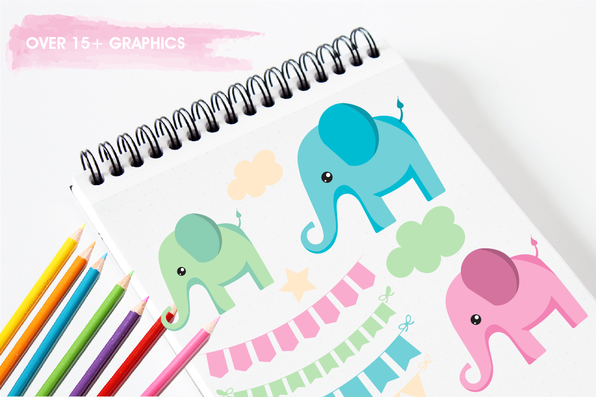 Bunting and elephants graphics and illustrations example image 3