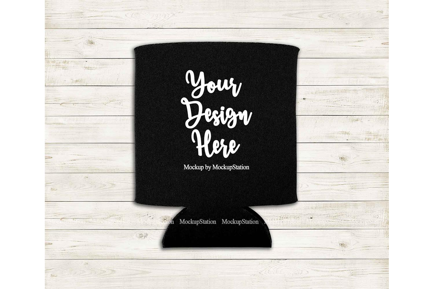 Can Cooler Mockup, Black Can Holder Flat Lay Mock Up example image 1