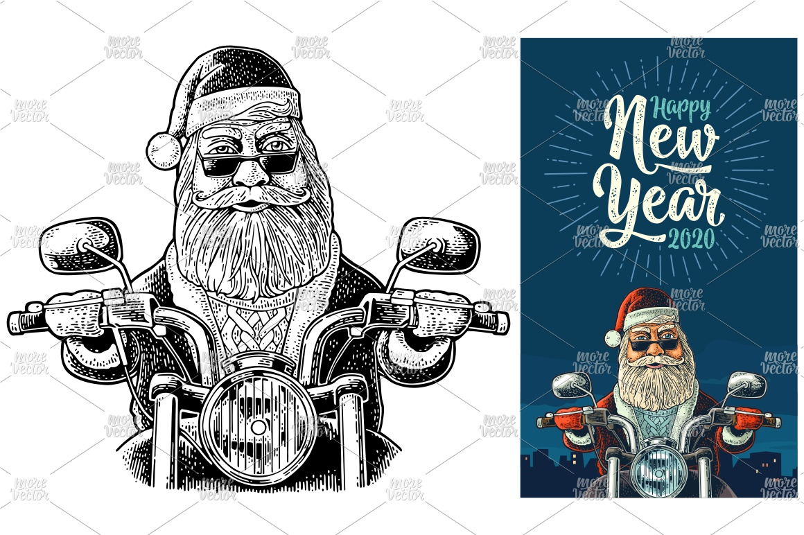 Santa Claus riding a classic chopper bike Vector engraving example image 2