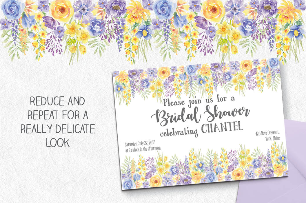 'Summer Flowers': border plus watercolor elements example image 4