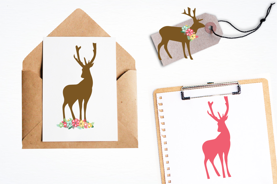 Floral Deers graphics and illustrations example image 4