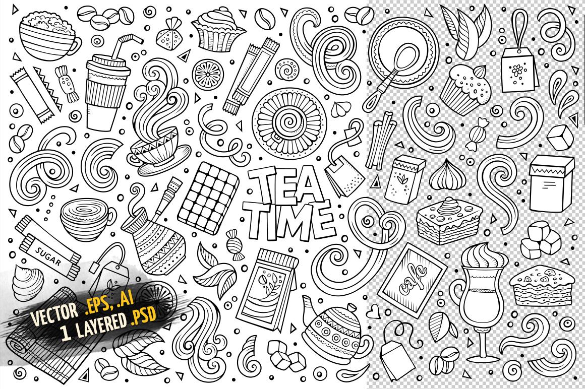 Tea Time Objects & Symbols Set example image 3