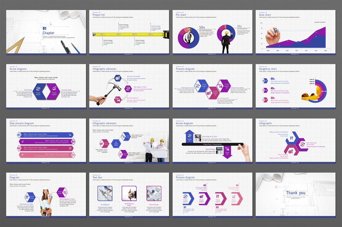 Blueprint PowerPoint Template example image 3