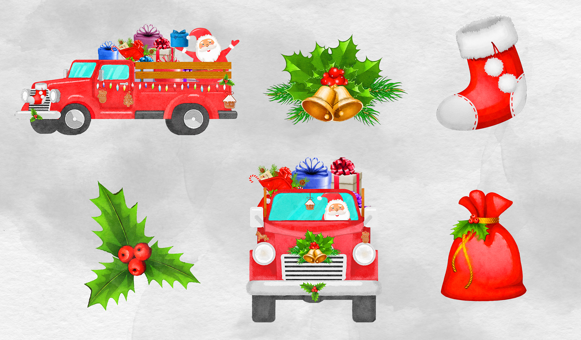 Watercolor Santa Claus Truck example image 2
