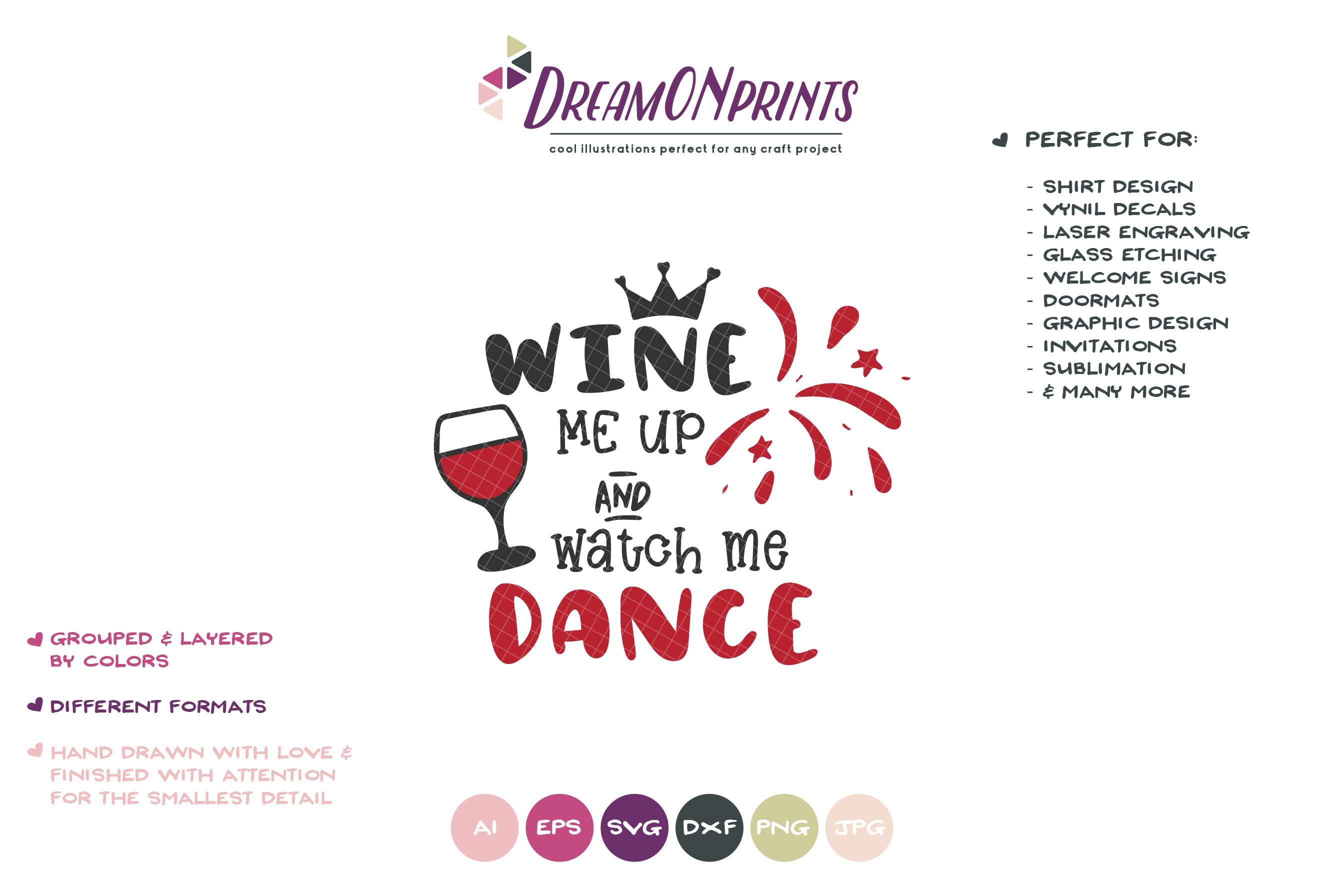 Wine Me Up and Watch Me Dance| Wine SVG Cut Files example image 2