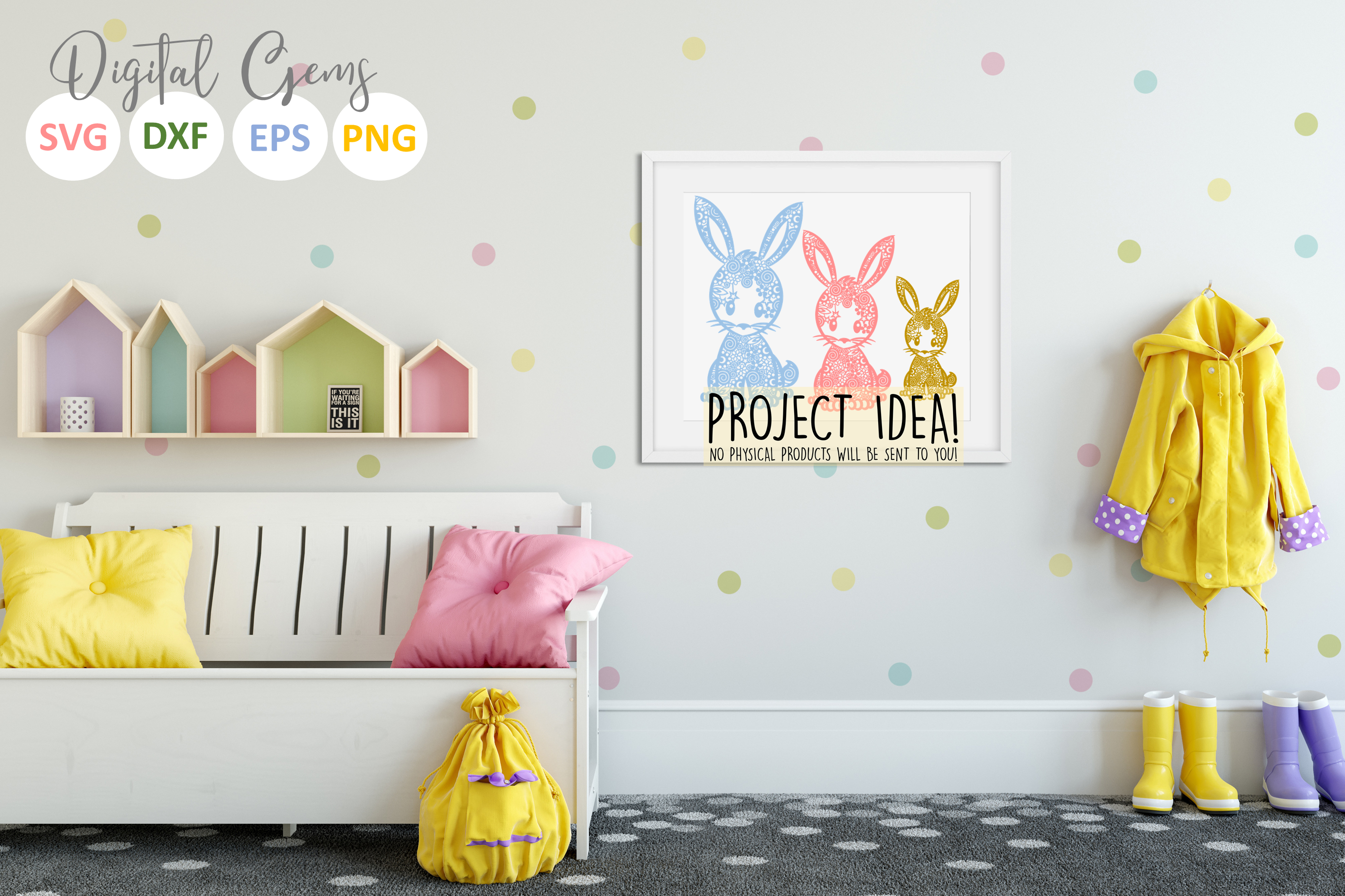 Bunny Rabbit paper cut SVG / DXF / EPS / PNG files example image 4