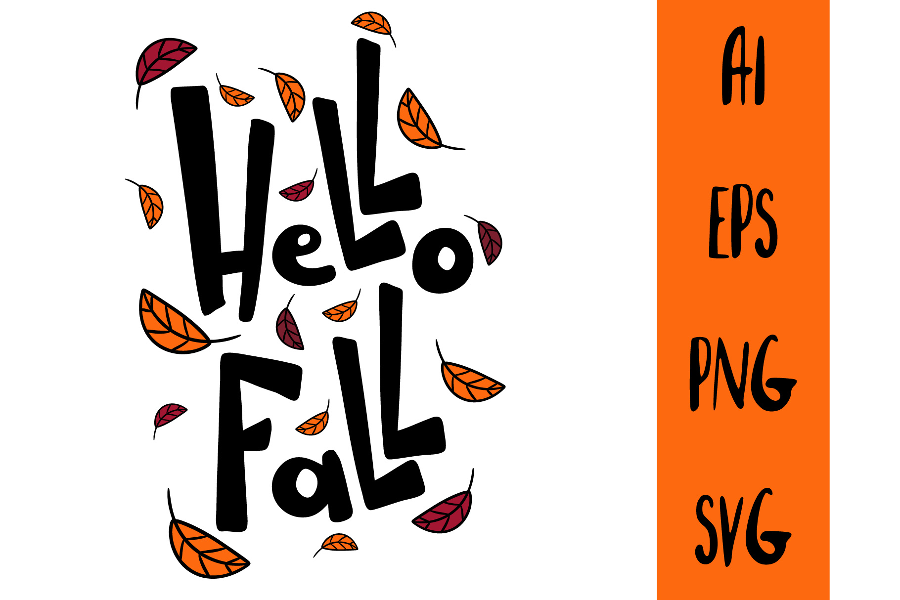 Hello Fall lettering text. Autumn template poster. example image 1
