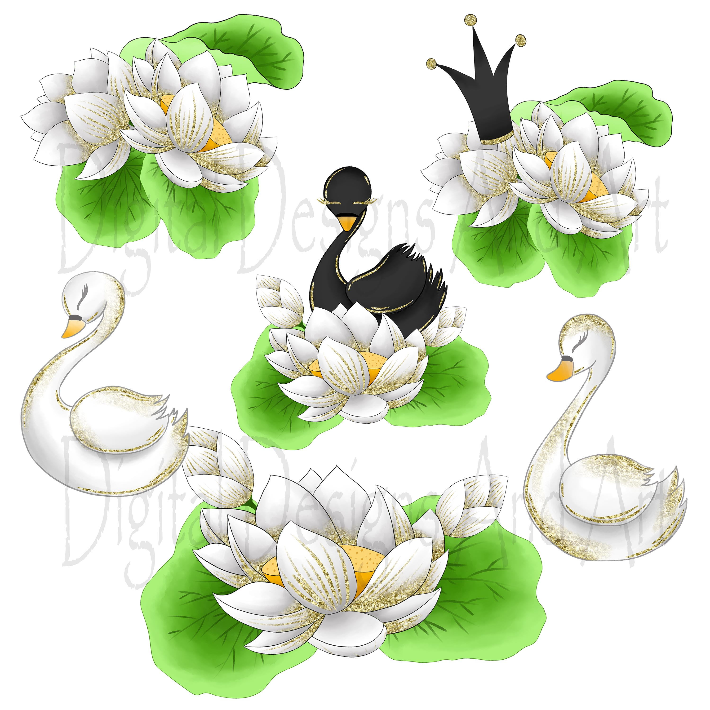 Wild swans clipart example image 3