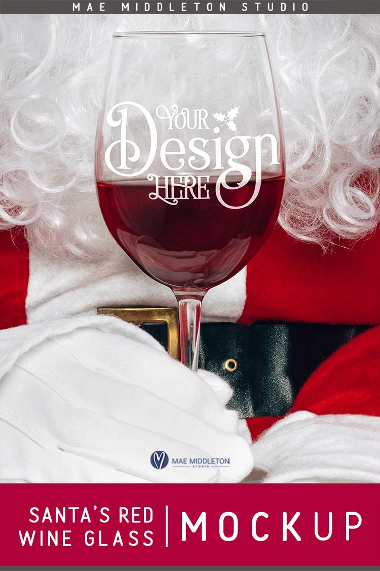 Wine Glass Christmas Mock Up example image 3