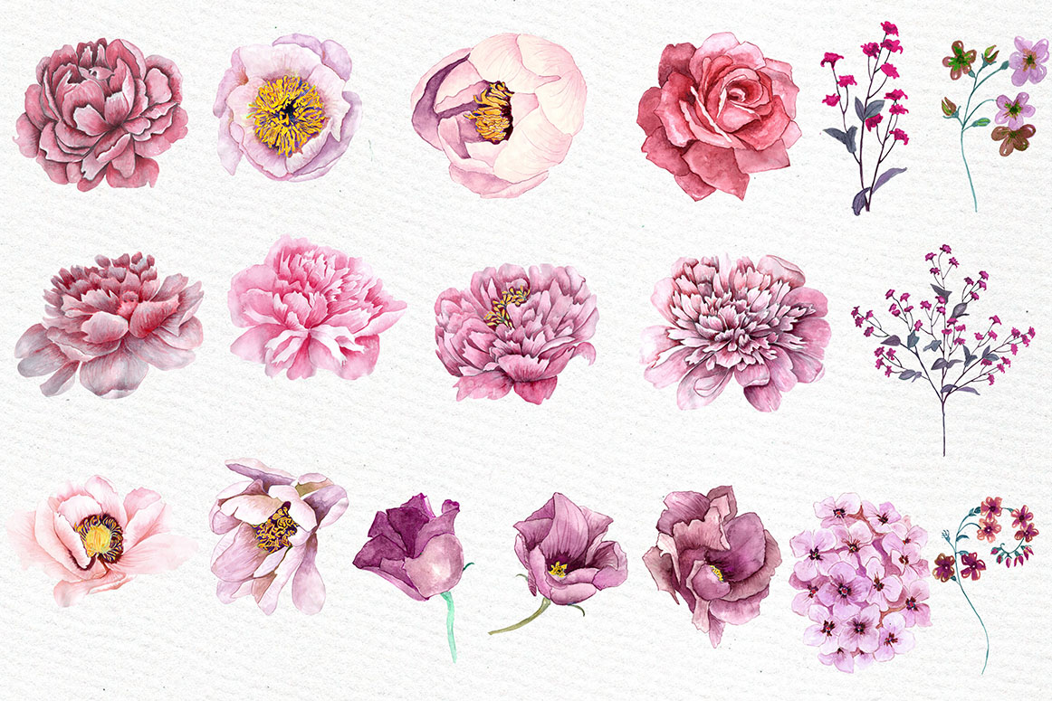 Pink watercolor flowers clipart example image 2