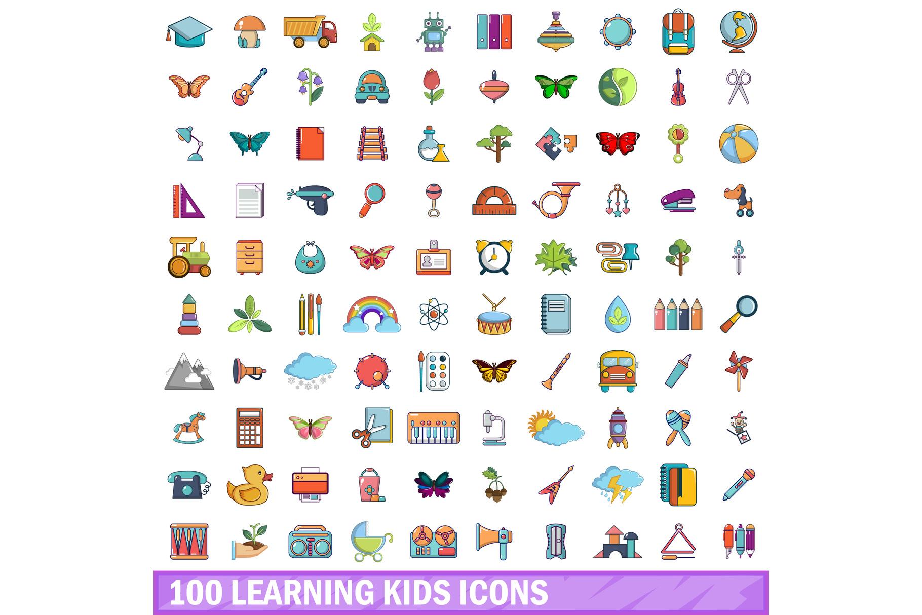 100 learning kids icons set, cartoon style example image 1
