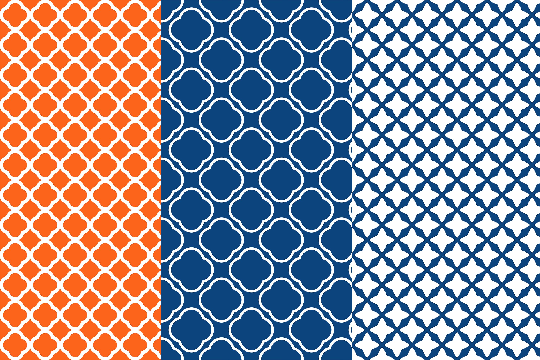Geometric Tiles Digital Paper, Orange Blue Seamless Patter example image 2