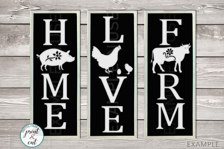 Farm Love Home Vertical Porch signs bundle svg templates example image 1