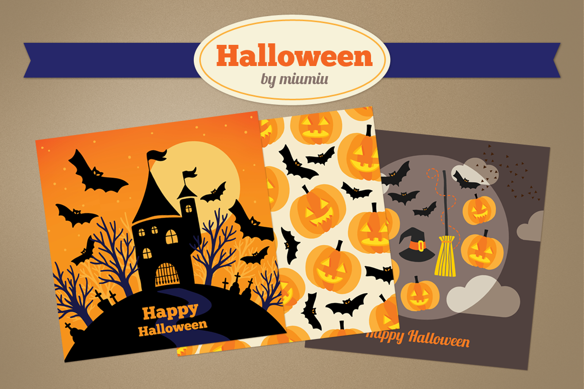 Halloween Greeting Cards and Patterns example image 1