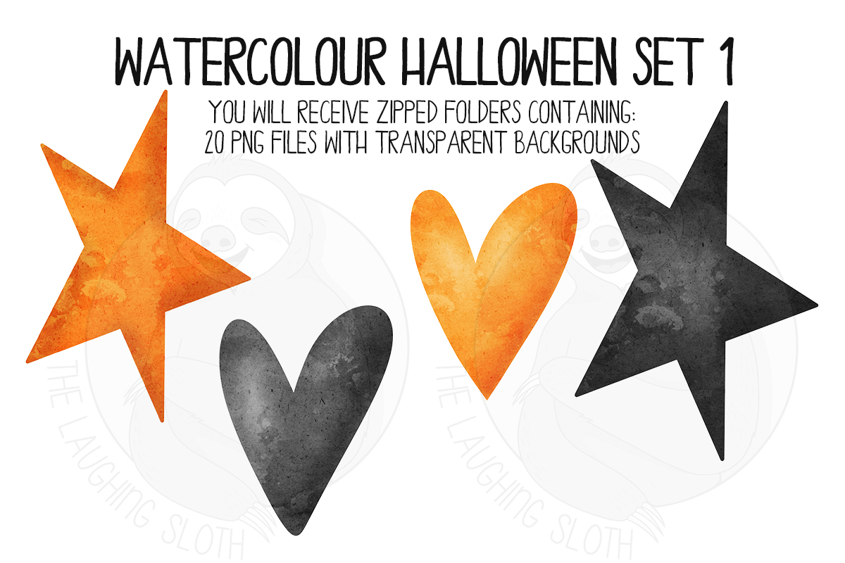 Watercolor Halloween Clip Art Set 1 example image 3