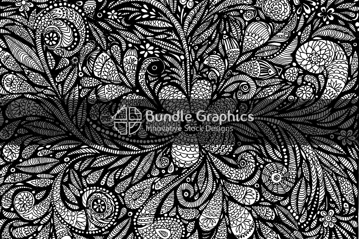 Floral Background - Ornamental Handmade Detailed Ink Graphics example image 1