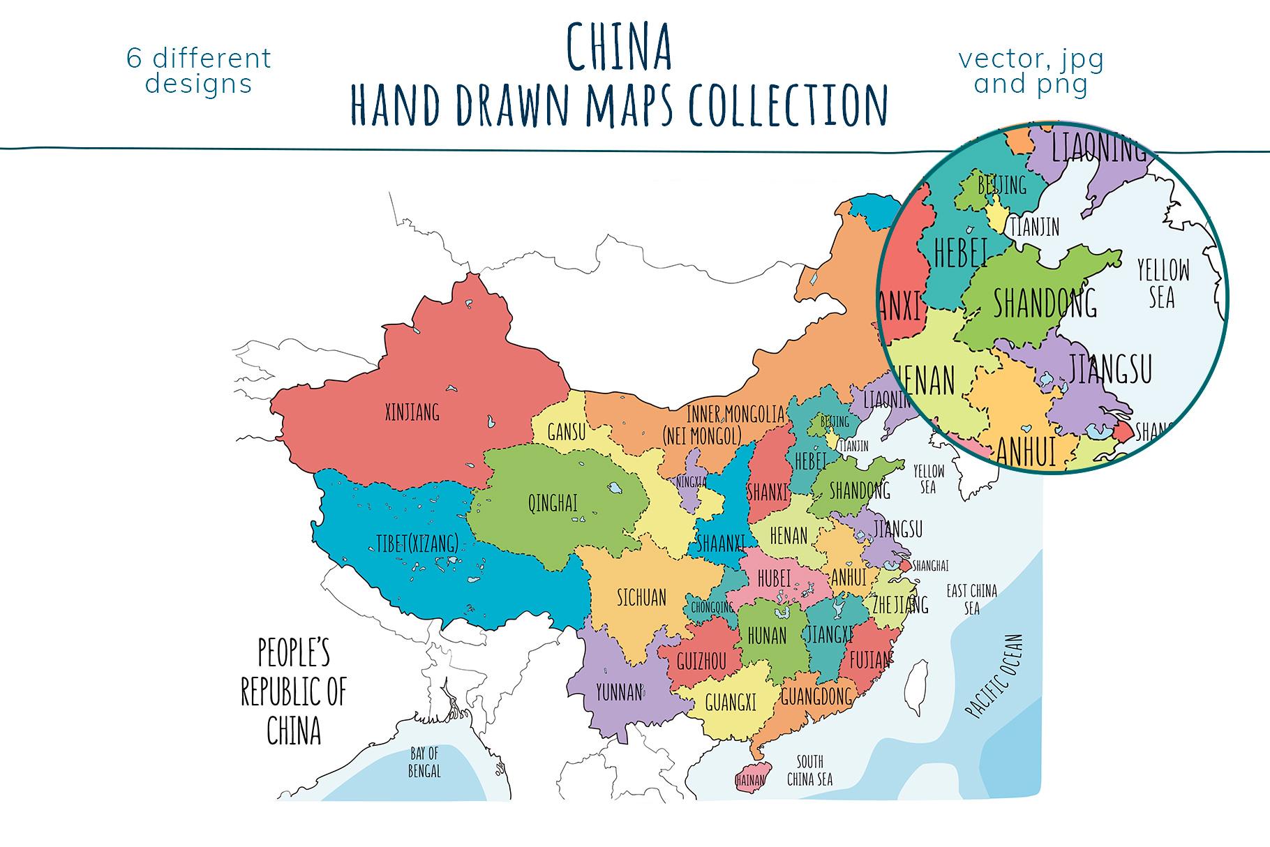 Maps of China. Hand drawn collection example image 5